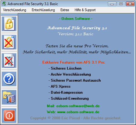 Screenshot vom Programm: Advanced File Security Basic
